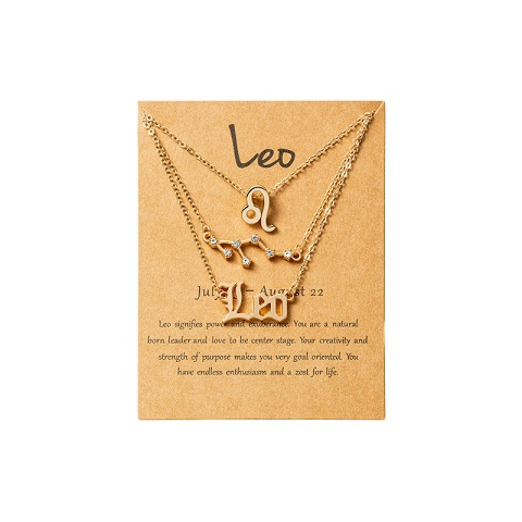 Women's Zodiac Constellations Pendant Necklace 3 Pcs Set - Leo
