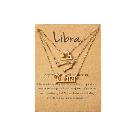 Women's Zodiac Constellations Pendant Necklace 3 Pcs Set - Libra