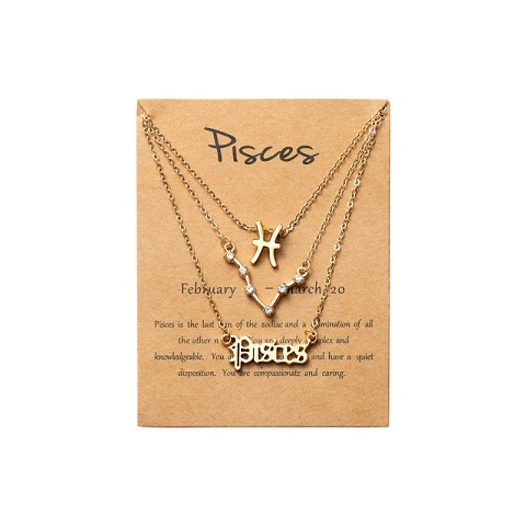 Women's Zodiac Constellations Pendant Necklace 3 Pcs Set - Pisces
