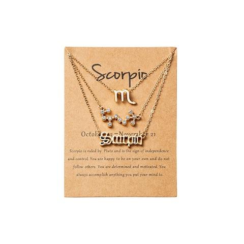 Women's Zodiac Constellations Pendant Necklace 3 Pcs Set -Scorpio