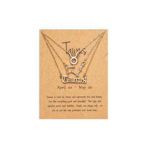 Women's Zodiac Constellations Pendant Necklace 3 Pcs Set - Taurus