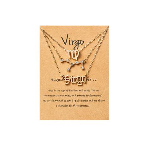 Women's Zodiac Constellations Pendant Necklace 3 Pcs Set - Virgo