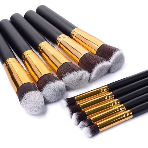 Wooden Handle Makeup Brush Set - Gold