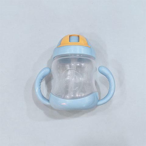 Zhuan Zhuan Xiong Double Handle Baby Straw Cup 280ml - Blue